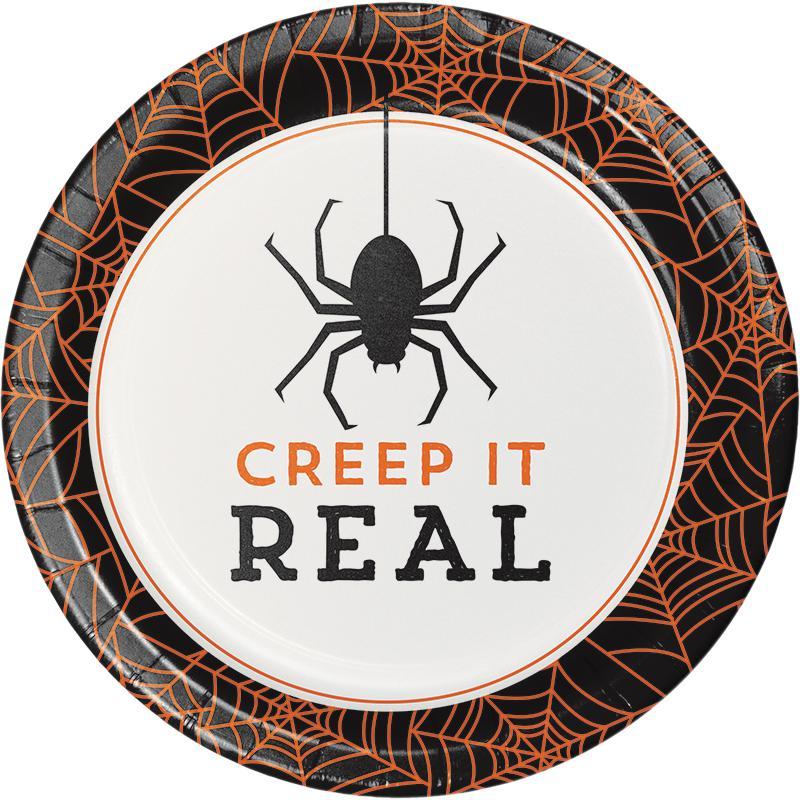 Paptallerkner til Halloween, edderkop - 8 stk.