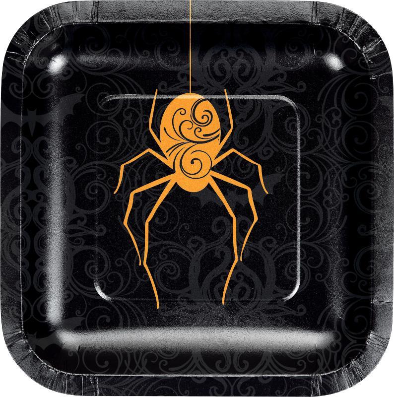 Paptallerkner til Halloween, edderkop, kvadratisk - 8 stk.