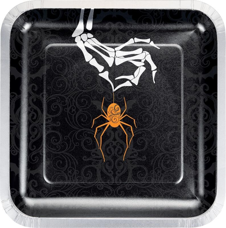 Paptallerkner til Halloween, skelet, kvadratisk - 8 stk.