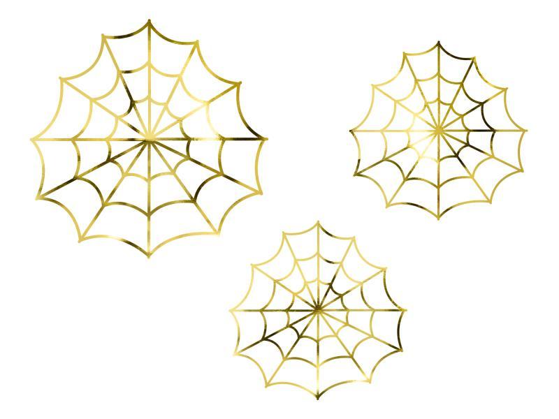 Edderkoppespind til pynt, guldfarvede - 3 stk.