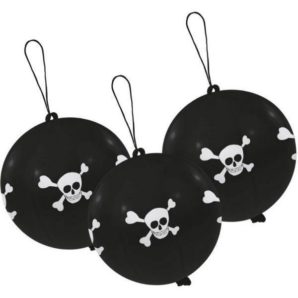 Punch balloner, sort med dødningehoved,  35 cm - 3 stk.