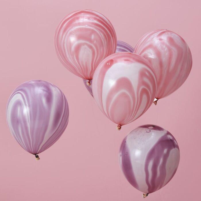 Marble balloner pink/lilla - 10 stk.