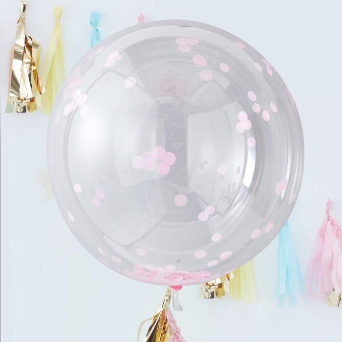 Konfetti balloner, Orb, transparent med lyserød konfetti  - 3 stk.