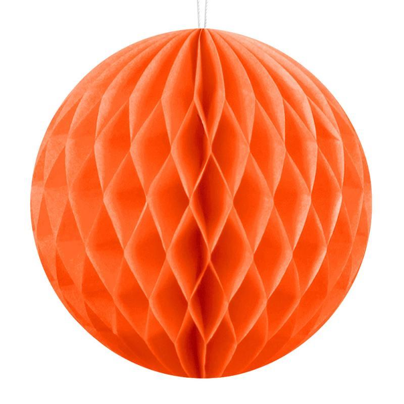 Honeycomb dekorationskugle, orange, Ø10cm - 1 stk.
