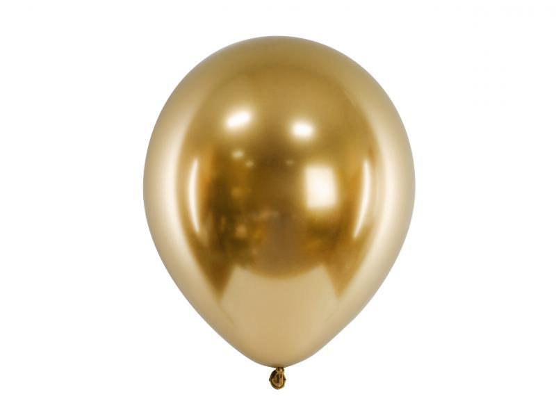 Balloner, guld metallic, latex - 5 stk.