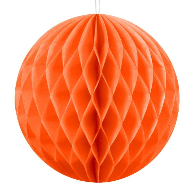 Honeycomb dekorationskugle, orange, Ø30cm - 1 stk.