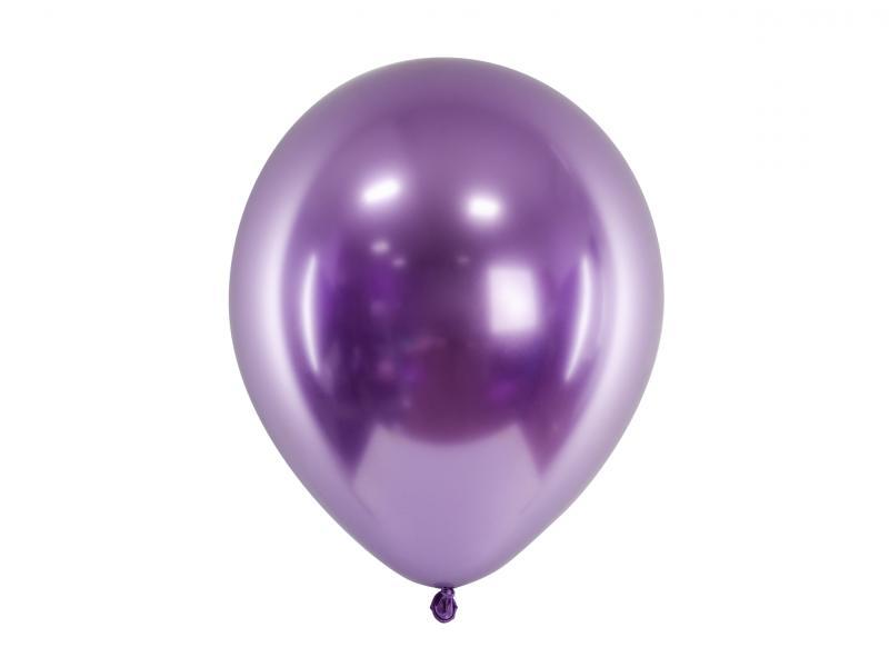 Balloner, lilla metallic, latex - 5 stk.