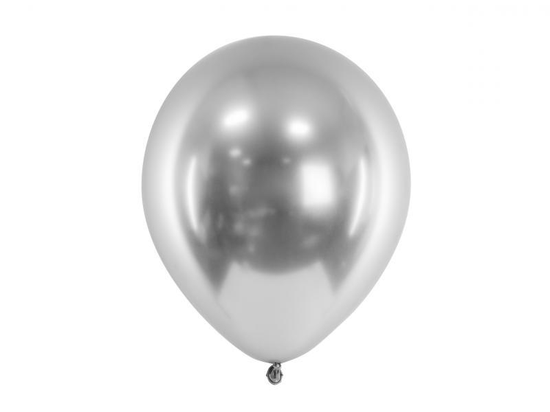 Balloner, sølv metallic, latex - 5 stk.