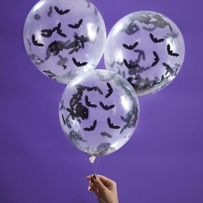 Halloween balloner, transparent med flagermus - 5 stk.