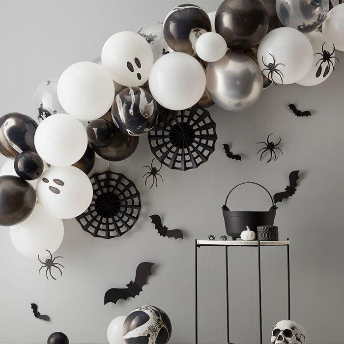 Halloween Ballonbue sort/hvid  - 1 stk.