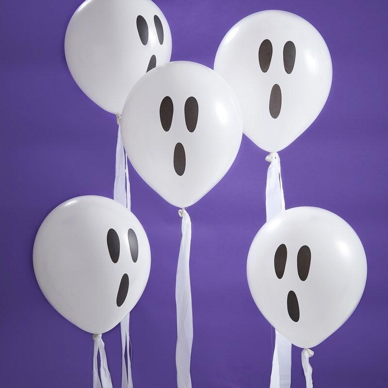 Halloween balloner spøgelse, med streamers - 10 stk.